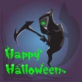 Carte de voeux heureuse de bannière de Halloween de faux de prise de faucheuse Photographie stock libre de droits