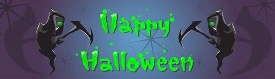 Carte de voeux heureuse de bannière de Halloween de faux de prise de faucheuse Photos libres de droits