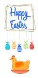 Carte de voeux heureuse de bannière de vacances de Sit On Nest Colorful Eggs Pâques de poulet Image stock