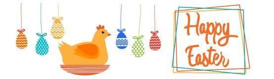 Carte de voeux heureuse de bannière de vacances de Sit On Nest Colorful Eggs Pâques de poulet Photo libre de droits