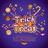 Carte de voeux heureuse de des bonbons ou un sort de Halloween avec Images stock