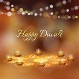 Carte de voeux heureuse de Diwali, invitation Festival des lumières indien L'huile de Diya a allumé les lampes et l'ornement flor Image stock