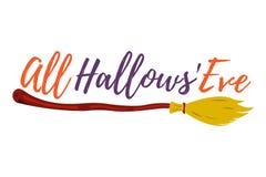 Carte de voeux heureuse de Halloween Affiche et bannière de Halloween sur Wh Image stock