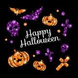 Carte de voeux heureuse de Halloween avec des symboles de vacances Illustration de Vecteur