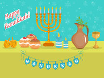 Carte de voeux heureuse de Hanoucca, invitation, affiche Festival de Hanoucca des lumières juif illustration stock