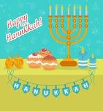 Carte de voeux heureuse de Hanoucca, invitation, affiche Festival juif de Hanoucca illustration stock