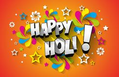 Carte de voeux heureuse de Holi illustration stock