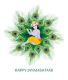 Carte de voeux heureuse de janmashtami Image stock