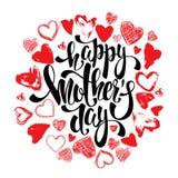 Carte de voeux heureuse de jour de mères avec des coeurs, lettrage Photo libre de droits