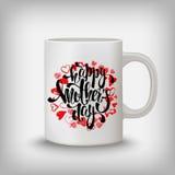 Carte de voeux heureuse de jour de mères, coeurs, lettrage Moquerie de tasse  Image stock