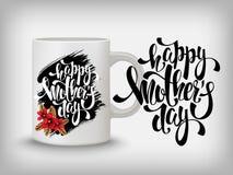 Carte de voeux heureuse de jour de mères, fleurs, lettrage Moquerie de tasse  Photographie stock libre de droits