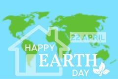 Carte de voeux heureuse de jour de terre Illustration de vecteur avec le hous illustration libre de droits