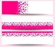 Carte de voeux heureuse de jour de valentines, bannière je t'aime Images libres de droits
