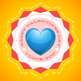 Carte de voeux heureuse de jour de valentines sur le fond jaune Images stock