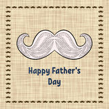 Carte de voeux heureuse de jour du ` s de père Typographie de vecteur Carte postale avec une rétro moustache de zentangle pour un Photographie stock libre de droits