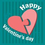 Carte de voeux heureuse de jour du `s de valentine Fond bleu vert de couleur Puzzle Photos libres de droits