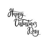 Carte de voeux heureuse de lettrage de main de jour du ` s de Valentine Image libre de droits