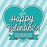 Carte de voeux heureuse de lettrage de Saint-Valentin avec le coeur, vecto illustration stock
