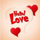 Carte de voeux heureuse de lettrage de Saint-Valentin sur le fond de papier Photos stock