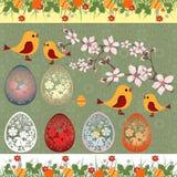 Carte de voeux heureuse de Pâques avec des egges, des oiseaux et la branche Images libres de droits