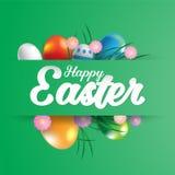 Carte de voeux heureuse de Pâques avec des oeufs Image libre de droits
