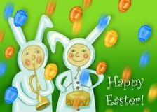 Carte de voeux heureuse de Pâques avec le garçon de lapin Photos stock