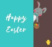 Carte de voeux heureuse de Pâques avec le lapin, le lapin, les oeufs et le poulet Vecteur Photographie stock