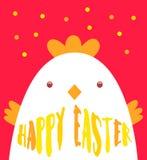 Carte de voeux heureuse de Pâques avec le poulet et le texte coloré Illustration de vecteur Image libre de droits