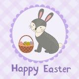 Carte de voeux heureuse de Pâques avec un lapin mignon Image libre de droits