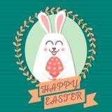 Carte de voeux heureuse de Pâques Milieux heureux de Pâques Lapin mignon Image stock