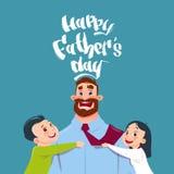 Carte de voeux heureuse de papa d'embrassement de père Day Family Holiday, de fille et de fils Image libre de droits