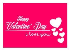 Carte de voeux heureuse de Saint Valentin avec le fond rose Images libres de droits