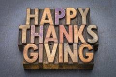 Carte de voeux heureuse de thanksgiving dans le type en bois Photos stock
