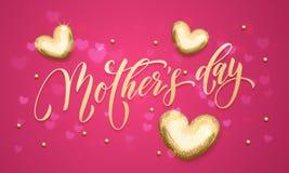 Carte de voeux heureuse de vecteur de coeur de scintillement d'or de fête des mères Images stock