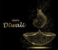 Carte de voeux heureuse de Diwali Lumière de Deepavali et festival du feu Photos libres de droits