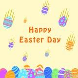 Carte de voeux heureuse drôle et colorée de Pâques avec l'illustration des oeufs et du texte en baisse peut employer pour la bann illustration de vecteur