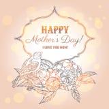 Carte de voeux heureuse du jour de mère illustration stock
