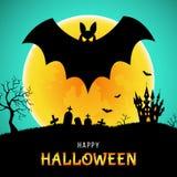 Carte de voeux heureuse de Halloween avec la batte, le château et la lune illustration stock