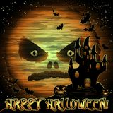 Carte de voeux heureuse de Halloween avec la lune et le château illustration de vecteur