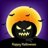 Carte de voeux heureuse de Halloween avec le potiron et la lune noirs illustration stock