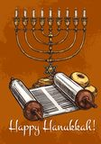 Carte de voeux heureuse de Hanoucca, croquis de vecteur illustration de vecteur