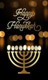 Carte de voeux heureuse de Hanoucca des lumières de bougie de menorah et de la police d'or pour des vacances juives Festiv de lum illustration de vecteur