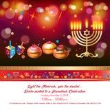 Carte de voeux heureuse de Hanoucca, menorah, chanuka, dreidel, fond de hanuka illustration libre de droits