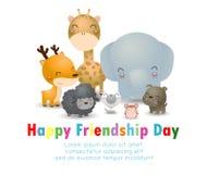 Carte de voeux heureuse de jour d'amitié avec le groupe divers d'ami d'animaux cerfs communs, éléphant, chien, chat, rat, girafe, illustration stock