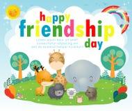 Carte de voeux heureuse de jour d'amitié avec le groupe divers d'ami d'animaux cerfs communs, éléphant, chien, chat, rat, girafe, illustration libre de droits