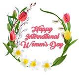 Carte de voeux heureuse de jour des femmes s Carte postale le 8 mars Texte avec des fleurs illustration libre de droits