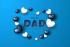 Carte de voeux heureuse de jour du père s avec des coeurs Illustration de vecteur Images libres de droits