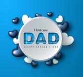 Carte de voeux heureuse de jour du père s avec des coeurs Illustration de vecteur Images stock