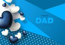 Carte de voeux heureuse de jour du père s avec des coeurs Illustration de vecteur Photos stock