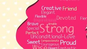 Carte de voeux heureuse de jour du ` s de mère Silhouette rose de femme enceinte avec un nuage des mots à l'intérieur sur un fond banque de vidéos